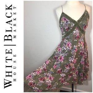 WHBM velvet trim floral dress